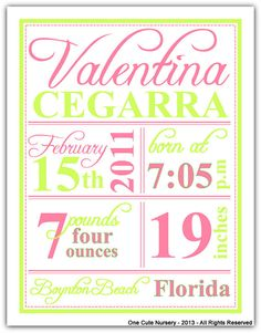 Pink and Green Birth Announcement  Baby Girl  by OneCuteNurseryCo, $15.00