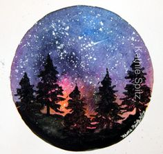 Six inch watercolor Galaxy with acrylic stamped trees and spattered stars.