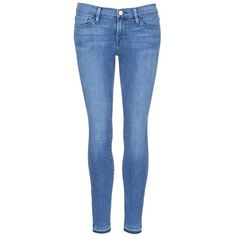 Frame Denim 'Le Skinny de Jeanne' cropped jeans ($220) ❤ liked on Polyvore featuring jeans, blue, urban jeans, faded blue jeans, faded jeans, cropped jeans and grunge jeans