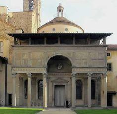 Brunelleschi - kaplica Pazzich przy kościele Santa Croce we Florencji, 1430, renesans. elegancja, spójność, umiar.
