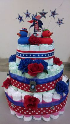 Check out this star spangled diaper cake made by April Franklin for our Pacific Northwest Field Office baby shower.