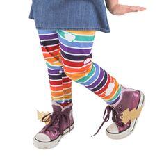Retro Rainbow Leggings with Clouds