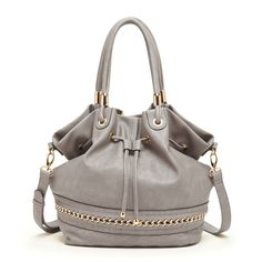 ***Veg'n Heads Up!!!***  Stunning Women's Grey Faux Leather Quilted And Chain Hobo | Marja by Sole Society