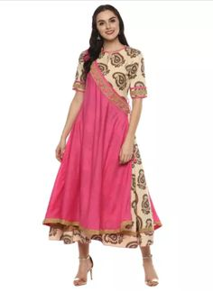 Printed Anarkali #Kurti With Elbow Sleeves Material - Rayon Pattern - Floral & Tropical Color - Pink
