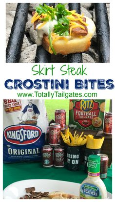 Be the at your football game day feast with an easy appetizer like these Dr Pepper Marinated Skirt Steak Crostini Bites! is so easy for us.we find Kingsford Charcoal, RITZ Crackers and Dr Pepper products at Walmart! Tailgate Appetizers, Tailgating Recipes, Tailgate Food, Snack Recipes, Sweets Recipes, Good Food, Yummy Food, Yummy Treats, Marinated Skirt Steak