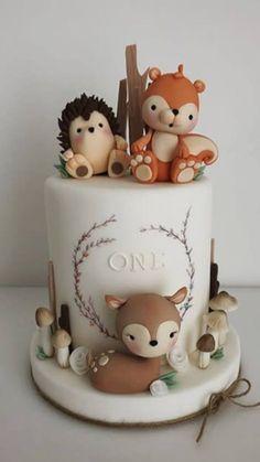 1st Birthday Cake For Girls, Baby Birthday Cakes, Baby Boy Cakes, Gateau Baby Shower, Baby Shower Cakes, Animal Cakes, Fondant Decorations, Cute Cakes, Beautiful Cakes