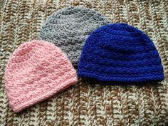 Slanted Shell Baby Beanies by EyeLoveKnots | AllFreeCrochet.com