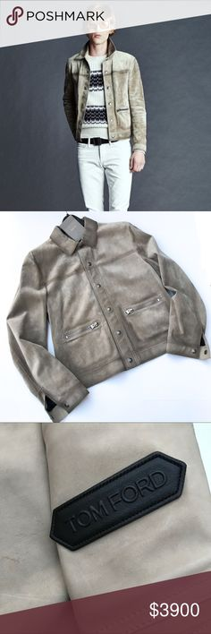 fc1f0257a Tom Ford Runway Suede Signature Jacket NWOT Tom Ford Runway Suede Leather  Jacket in Neutral Sand