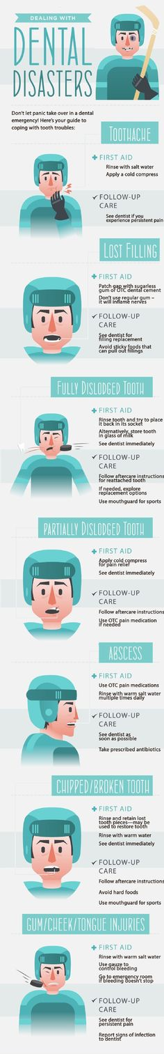 Dealing with dental disasters infographic.