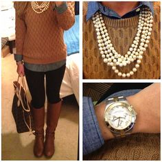 Blouse, sweater, boots and jewelry. Do this with black blouse and sequined sweater with jeans and boots. Cute Fall Outfits, Fall Winter Outfits, Pretty Outfits, Autumn Winter Fashion, Cool Outfits, Fashion Outfits, Fashion And Beauty Tips, Passion For Fashion, Dress To Impress
