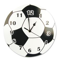 The Trend Lab Soccer Ball Wall Clock is a great piece for soccer enthusiasts. This wall clock has a soccer ball shape and style that will be perfect for lovers of the beautiful game. This clock can be an excellent addition for a boy or child's roo. Wall Clock Black And White, Black White, Boy Room, Kids Room, Boys Soccer Bedroom, Baseball Wall, Romantic Bedroom Decor, Bedroom Ideas, Bedroom Wall