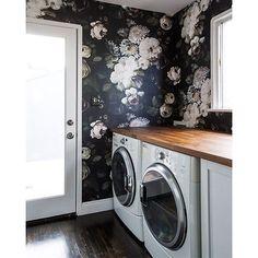 "wallpaper idea - spare bath - Ellie Cashman ""Dark Floral"""