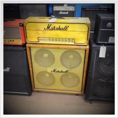 Beautiful, end all be all of tone, Marshall Plexi & 4x12 cab w/ Celestions (3 greenbacks, 1 grey back). Head is from '69, cab is from '70. The head had a Master Volume added to it in the 70's, which is when the tolex was removed, it was stained and the gold amenities were added. It's a work o...