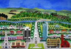 Sarah Platt is a New Zealand Artist whose paintings and prints of our towns and cities are celebrated and enjoyed all around the world. Nz Art, New Zealand, City Photo, Paintings, Artists, Gallery, Teaching, Paint, Roof Rack