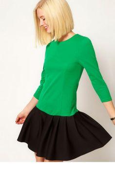 Sweet contrast color round neck Sleeve Dress_daily dress_Dresses_CLOTHING_Voguec Shop