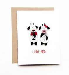 Funny I love you card  Unique I love you card  I by ofthingspretty