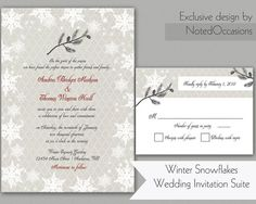 DIY Winter Wedding Invitation printable Winter by NotedOccasions, $38.00