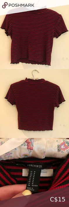 Striped Mock Neck Tee Style it up or down!! This shirt is from forever 21, is mildly cropped, black and red horizontally striped, has a lettuce edge and has a mock neck. Size medium and fits exactly like one. Willing to discount for the name tag ironed in! 💎 All purchases are washed before shipping and come from a quarantined home :) 💎 Black - red - striped - horizontal - chic - trendy - mock neck - casual - chill - summer - spring - cute - sexy - comfortable - comfy - edgy  - bundle… Mint Shirt, Crop Top With Jeans, Off The Shoulder Tee, Strapless Crop Top, Forever 21 Shirts, Fan Shirts, Scarf Shirt, Cute Crop Tops, Striped Crop Top