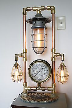 Steampunk Copper and Brass Lamp Victorian Base US steam Gauge