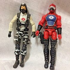 GI Joe Two Loose Action Figures 4in Undated No Stands One Red One Gray Uniform #Hasbro