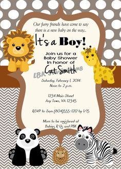 Zoo Themed Baby Shower Invitation Girl or Boy by LBKInvites, $15.00