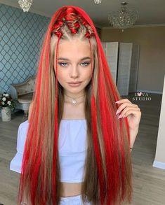 Hair Color Streaks, Hair Dye Colors, Cool Hair Color, Harry Styles Hair, Long Hair Styles, Rave Hair, Braided Hairstyles, Cool Hairstyles, Stylish Ponytail