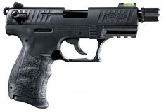 """Walther P22Q Tactical with Fiber Optic Sight .22LR 3.42"""". The new Walther QAP22522 P22 Suppressor Ready 22LR Pistol with 3.4"""" threaded barrel, HiViz Sights & new style polymer frame. Features polymer grip frame with interchangeable backstrap, Picatinny style accessory rail system, ambi magazine release, & deep cut front & rear slide serrations. 10+1 capacity. $439.99"""