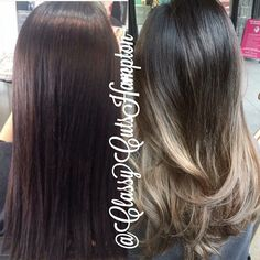 """Next we have our lovely client Deshia ❤️ from dark brown/black tint to a gorgeous smokey dark ash blonde ombré. Beautiful!!  #classycuts…"""