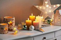 Karácsonyi hangulatban Winter Light, Pillar Candles, Lights, Table Decorations, Campaign, Medium, Home Decor, Decoration Home, Room Decor