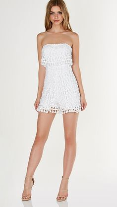 Flirty tube romper with full lining and crochet overlay. Tulip style hem with tassel detailing throughout and back zip closure. - Polyester - Imported - Model is wearing size S - Runs true to size - Hand wash cold - Available in Mauve & White Psy Gangnam Style, Marina Laswick, Girls In Mini Skirts, Strapless Romper, Tube Dress, Up Girl, Beautiful Legs, Mode Style, Look Fashion