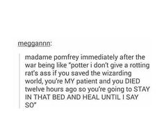 """Harry """"ptsd"""" potter could probably use some inpatient treatment after all that anyway"""