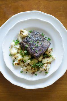 Spice-Rubbed Steak & Cauliflower  warm farro salad – spice-rubbed flat iron steak – roasted cauliflower   :PeachDish #peach #georgia #meal #delivery #appetizer #entree #dessert #fortwo #$20 #weekly #cook #kitchen #dinner #fresh #ingredients #recipe #instagram #chef www.PeachDish.com