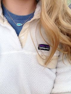 turquoise necklace + patagonia pullover