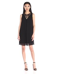 Effortless georgette dress features lattice detail at neckline and flattering A-line silhouette....