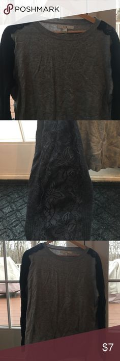 Grey and Black Lace Forever21 Lightweight Sweater Will throw on steam refresh before shipped! Good condition. Size large. Forever 21 Sweaters Crew & Scoop Necks
