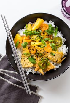 Tofu and Pineapple Stir-Fry | Serve over Mahatma White Rice for a delicious and slightly sweet dinner meal.
