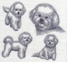 Bichon Frise Sketch design (K2837) from www.Emblibrary.com