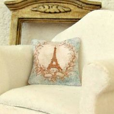 Dollhouse Miniature, Eiffel Tower Cushion, Dolls House Pillow, French Decor, Shabby Cottage Chic, 1:12th Scale