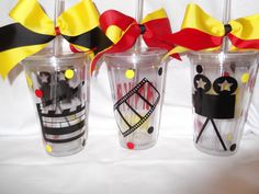 Hollywood movie themed tumbler 16 ounce cups by ThePoshDiva Movie Theater Party, Cinema Party, Movie Night Party, Slumber Party Favors, Sleepover Party, Slumber Parties, Hollywood Glamour Party, Hollywood Theme, Movie Themes