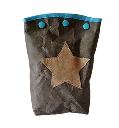 Kosmetiktasche vegan Leder MAURA dunkelbraun – Applikation Stern - Filztasche kaufen - Filztaschen von margritli country style