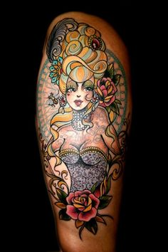 The detail in her corset and the stained glass style of coloring is cool. PinUp by Dawnii Fantana