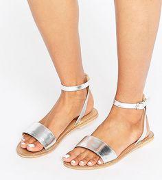 1d4c185a547ce9 Asos FLIQUE Wide Fit Leather Flat Sandals Leather Sandals Flat