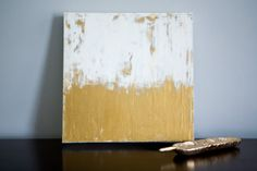 12x12 White/Gold Abstract III. $80.00, via Etsy.