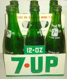 1960's Seven Up 7Up 6 Pack ACL Bottles w by OtterCreekAntiques