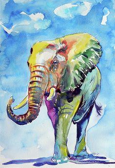 Elephant Canvas Print featuring the painting Colorful Elephant by Kovacs Anna Brigitta Elephant Poster, Elephant Art, Elephant Watercolor, Elephant Theme, Pop Art, Fine Art Amerika, Elephant Throw Pillow, Colorful Elephant, Modern Oil Painting