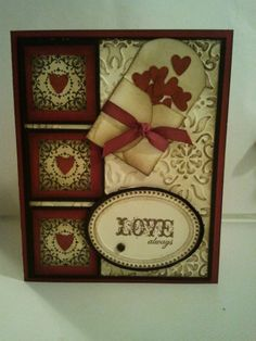 I know this is a card but what a cute page embellishment.  love the heart boxes on the left........cant you just see that little envelope of hearts tumbling down your page?