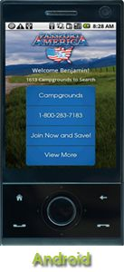 Passport America's Free App for Android.  Easily locate participating parks where PA members save 50% on nightly camping fees.