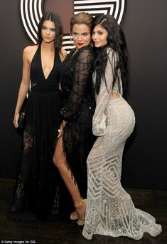 Sister, sister: (From left) Kendall Jenner, Khloe Kardashian and Kylie Jenner attend the A...