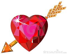 Red Ruby Heart Struck By Cupid Arrow Stock Image - Image: 12485801