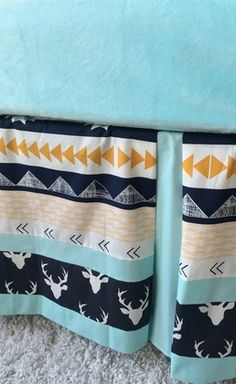 Deer, Aztec, and Mint Tailored Crib Skirt